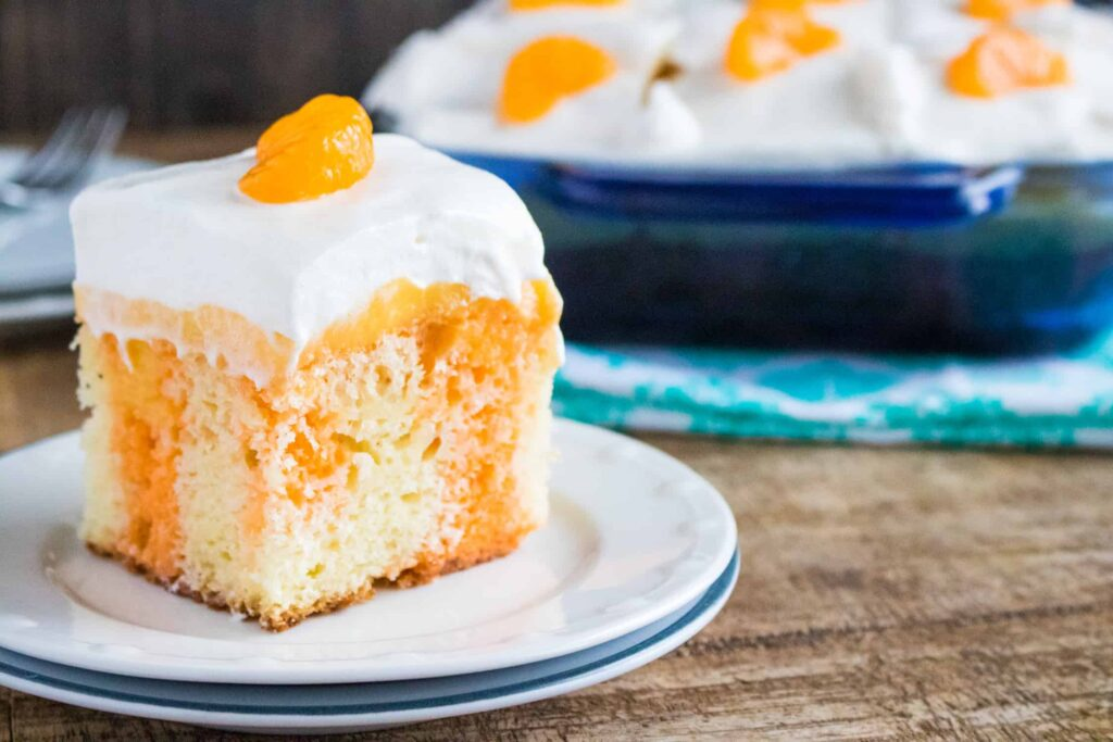 8. Keto Orange Poke Cake: