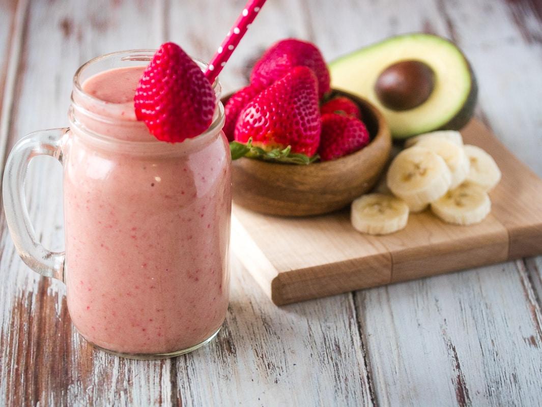 Almond Milk Strawberry Avocado Keto Smoothie