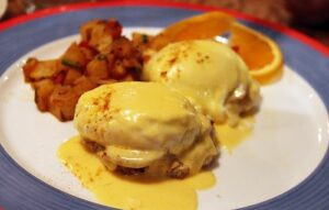 Fried-Oysters Benedict with Tasso Hollandaise